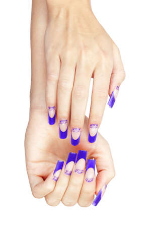 Hands with blue french acrylic nails manicure and painting with red bow on finger isolated white background 免版税图像 - 151019409