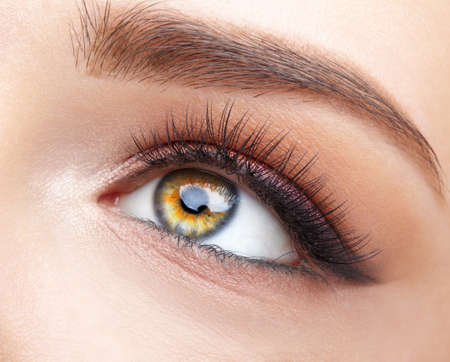 Closeup macro shot of human female eye. Woman with natural evening vogue face beauty makeup. Girl with perfect skin and pink eyes shadows. Фото со стока
