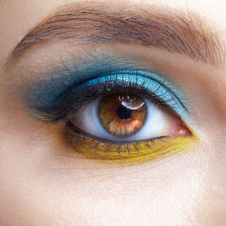 Closeup macro shot of human female eye. Woman with natural evening vogue eyes beauty makeup. Eye with blue smoky eyes shadows and yellow liner.