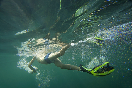flippers: A diver in flippers snorkeling.