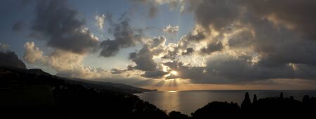 skyscapes: Large panorama dawn cloudy sky over the Black Sea.