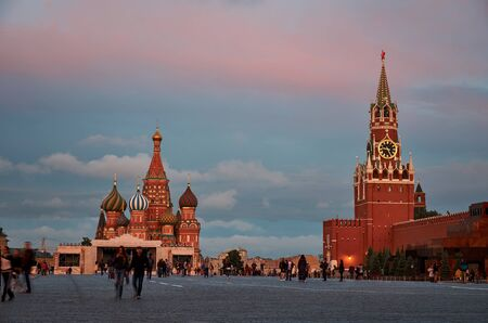 square: St. Basils Cathedral and the Kremlin. Red Square. Moscow.