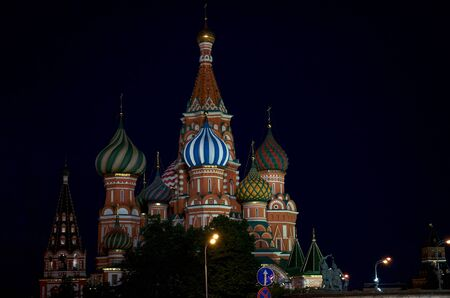 red square: St Basils Church. Night. Red Square. Moscow.