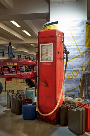 converted: Czech Republic. Prague. National Technical Museum. Converted gas station with gasoline. June 11, 2016