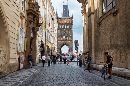 Czech Republic. Prague. East Tower of Charles Bridge in Prague. June 13, 2016