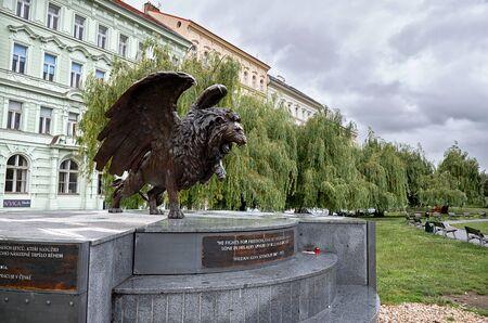leon alado: Czech Republic. Prague. Winged lion monument in Prague. 17 June 2016.