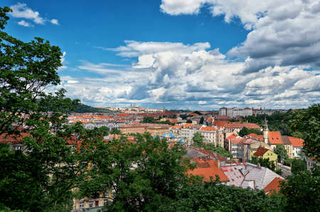 Czech Republic. Prague. The view from the height on the houses in Prague. Stock Photo