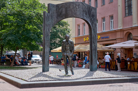 popularity: Russia. Moscow. Monument to Bulat Okudzhava on Old Arbat Street in Moscow. 20 June 2016.