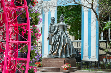 Russia. Moscow. The monument to Alexander Pushkin and Natalia Goncharova in the street Old Arbat in Moscow. 20 June 2016.