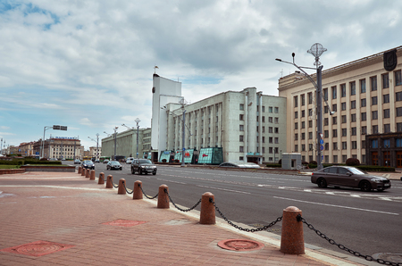 municipal editorial: Belarus. Minsk. Town houses on the streets of Minsk. May 21, 2017 Editorial