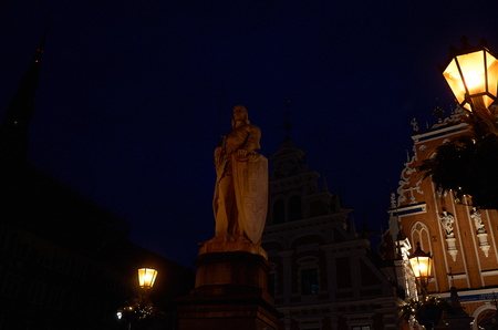 Latvia. Riga. Statue of Roland in the Town Hall Square in the Old Town of Riga. January 01, 2018