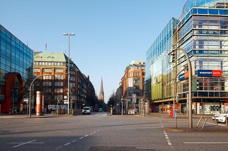 Germany. Hamburg. Houses on the street in the center of Hamburg. February 13, 2018