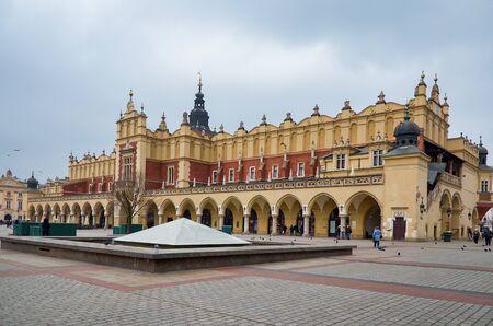 Poland. Krakow. Cloth Hall at the Market Square in Krakow. February 21, 2018