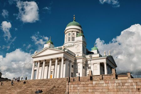 Finland. Helsinki. Helsinki Cathedral (St. Nicholas Cathedral) on Senate Square. September 16, 2018 Editorial