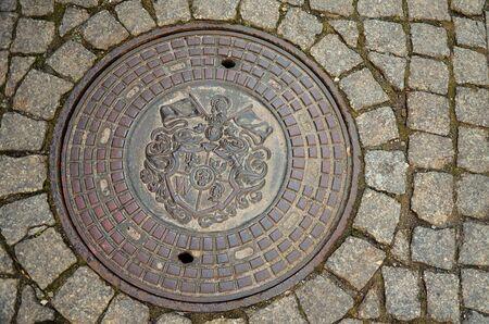 Poland. Wroclaw. Manhole in Wroclaw. February 20, 2018
