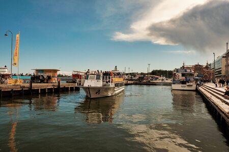 Finland. Helsinki. Pier with ships in Helsinki. September 16, 2018
