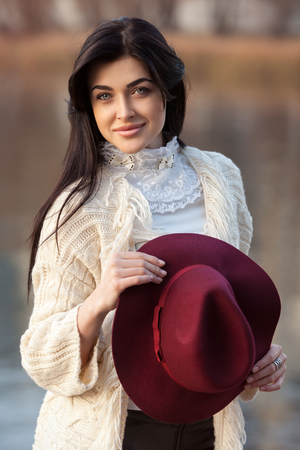 portrait of beautiful girl with hat