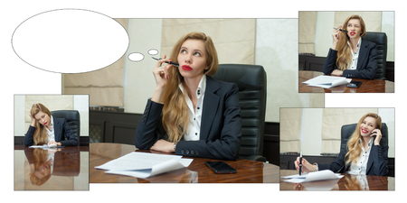 Businesswoman think looking up to empty copy space, young attractive business woman think, idea, hold folder pen on chin. concept pondering in modern office. Speech bubble at the top of the photo for your text. Photo Illustrations