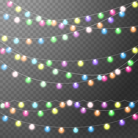 Abstract creative christmas garland light isolated on background. template. Vector illustration art decoration for Xmas holiday decoration. Concept idea design element. Realistic luminous bulb. Glow lamp Ilustrace