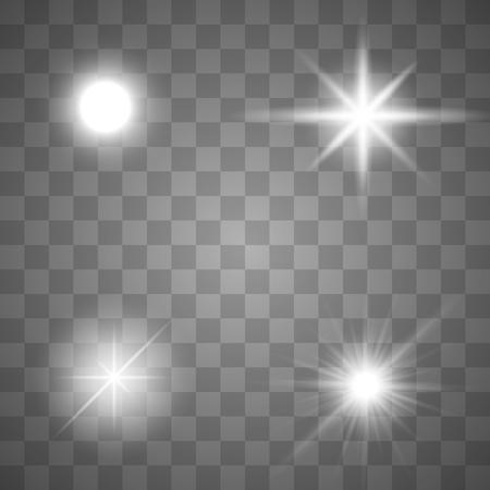 Bright Star. Transparent shining sun, bright flash. Vector sparkles. Vektoros illusztráció