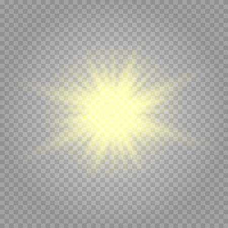 Bright Star. Transparent shining sun, bright flash. Vector sparkles.