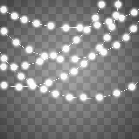 Luce creativa astratta della ghirlanda di natale isolata su fondo. modello. Arte di clipart illustrazione vettoriale per la decorazione delle vacanze di Natale. Elemento di design idea di concetto. Lampadina luminosa realistica. Lampada a incandescenza