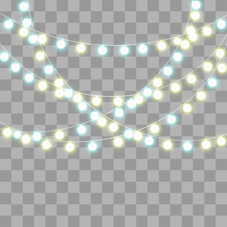 Abstract creative christmas garland light isolated on background. template. Vector illustration clipart art for Xmas holiday decoration. Concept idea design element. Realistic luminous bulb. Glow lamp Ilustrace