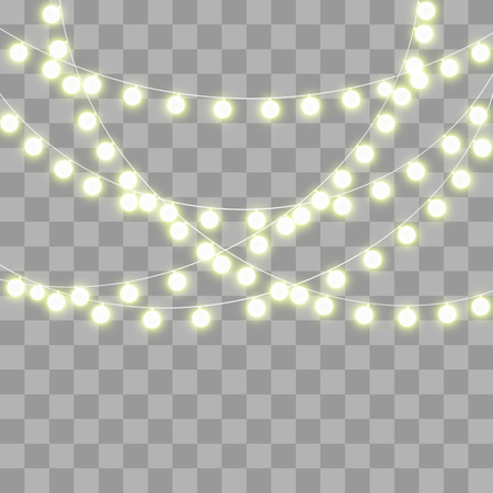 Abstract creative christmas garland light isolated on background. template. Vector illustration clipart art for Xmas holiday decoration. Concept idea design element. Realistic luminous bulb. Glow lamp Ilustração