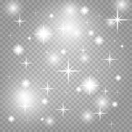 Star dust, thousands of brilliant lights. Star dust blue. Cosmic dust, on a transparent background. Christmas flash dust. Vector illustration. Ilustração