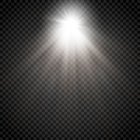 Abstract transparent sunlight special lens flare light effect. Vector blur in motion glow glare. Isolated transparent background. Decor element. Horizontal star burst rays and spotlight. Vecteurs