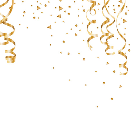 Serpentine golden isolated on checkered background. Gold confetti. Festive vector illustration -