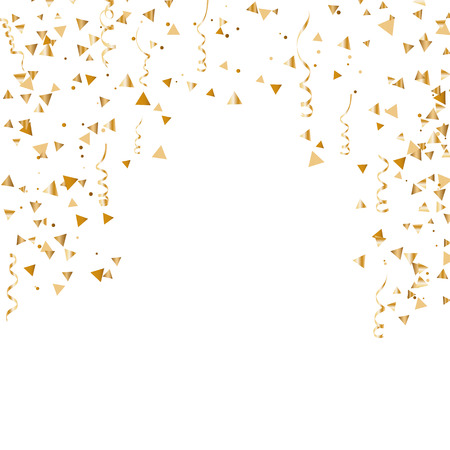 Serpentine golden isolated on checkered background. Gold confetti. Festive vector illustration - Vector Illustration