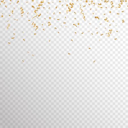 Serpentine golden  isolated on checkered background. Gold confetti. Festive vector illustration - Ilustração