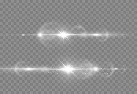 Abstract transparent sunlight special lens flare light effect. Vector blur in motion glow glare. Isolated transparent background. Decor element. Horizontal star burst rays and spotlight.