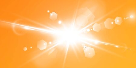 Abstract sparkling lens flare with sparkling sun on a yellow and orange background. A warm sun that is filled with natural rays of light glare. Isolated vector illustration. 일러스트