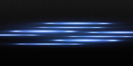 Introducing the effects of vector neon light sets. Glowing blue abstract line. Suitable for transparent lens flare effect. Bright light can be used for game design, banners, posters.