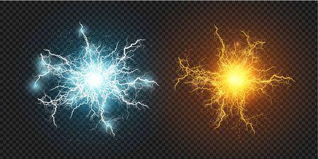 Lightning flash light thunder sparks on a transparent background. Fire and ice fractal lightning, plasma power background vector illustration Ilustración de vector