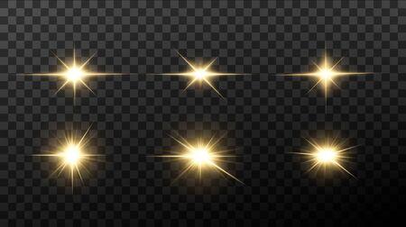 Étoiles dorées brillantes isolées sur fond noir. Effets, lumière parasite, brillance, explosion, lumière dorée, ensemble. Étoiles brillantes, beaux rayons dorés. Illustration vectorielle.