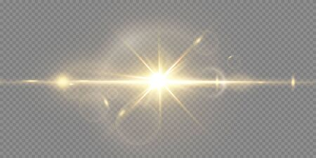Shining golden stars isolated on black background. Effects, lens flare, shine, explosion, golden light, set. Shining stars, beautiful golden rays. Vector illustration. Vektorgrafik