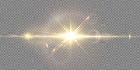 Shining golden stars isolated on black background. Effects, lens flare, shine, explosion, golden light, set. Shining stars, beautiful golden rays. Vector illustration. Vektoros illusztráció