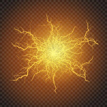 Lightning flash light thunder sparks on a transparent background. Fire and ice fractal lightning, plasma power background vector illustration Çizim