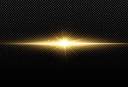 Shining golden stars isolated on black background. Effects, lens flare, shine, explosion, golden light, set. Shining stars, beautiful golden rays. Vector illustration.