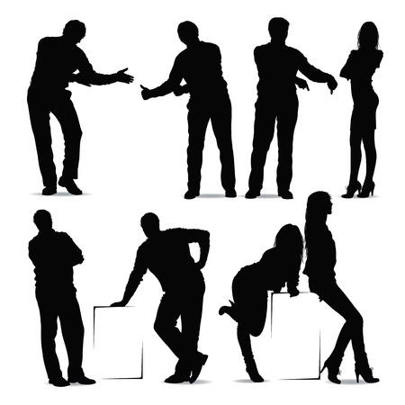 sexy woman standing: communication Illustration