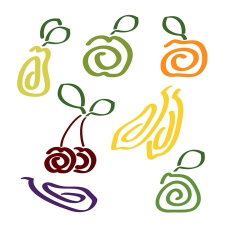 green apple slice:  vitamins Illustration