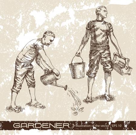 regando el jardin: agricultor Vectores