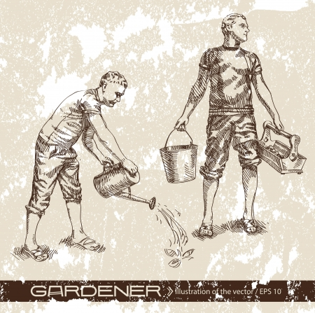 watering pot: farmer Illustration