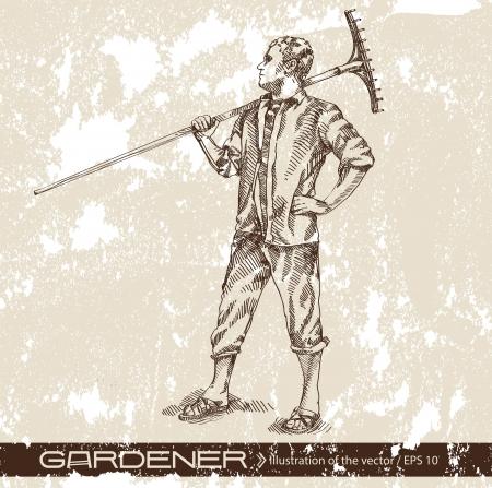 watering pot: farmer Illustration