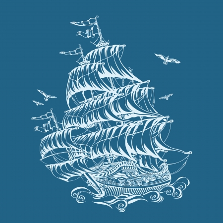 sailing ship: frigate Illustration