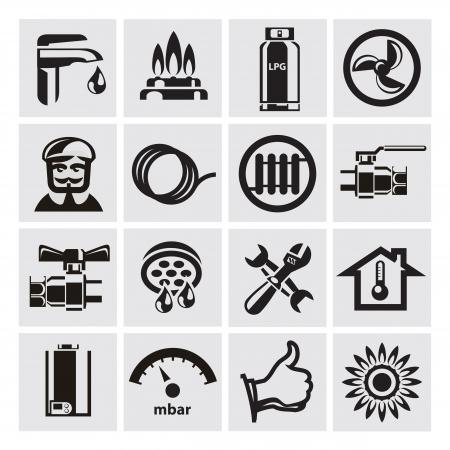loodgieterswerk: verwarming Stock Illustratie