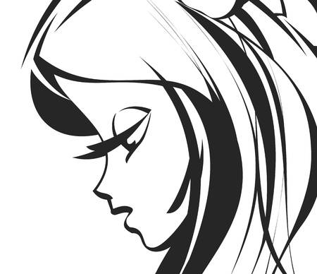 beautiful girl face: abstract woman Illustration